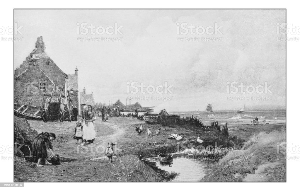 Antique photo of paintings: Town vector art illustration