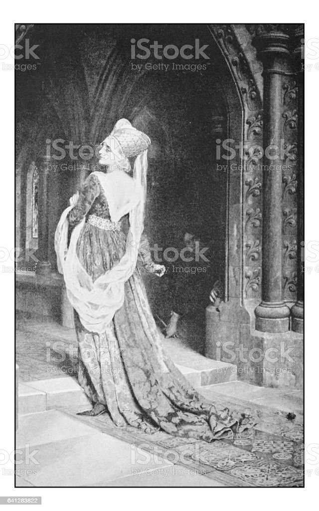 Antique photo of paintings: Woman vector art illustration