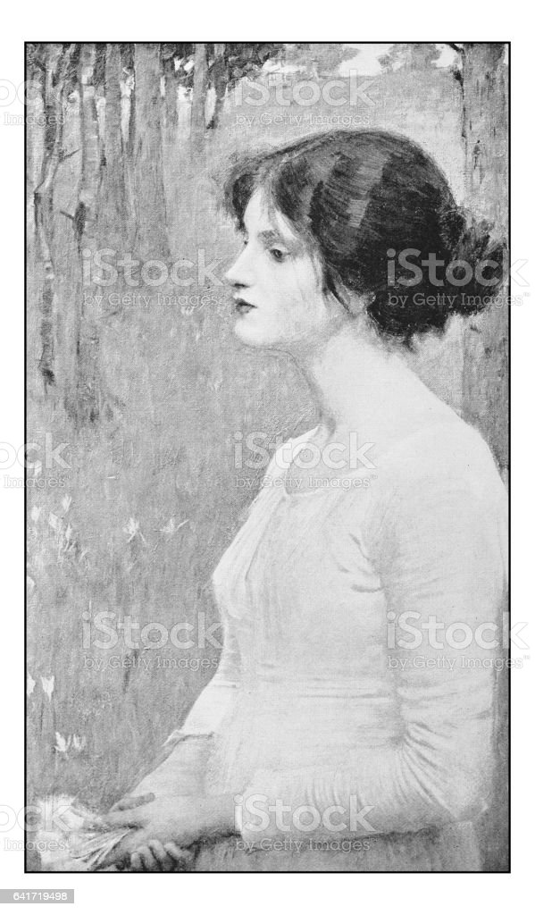 Antique photo of paintings: Woman portrait vector art illustration