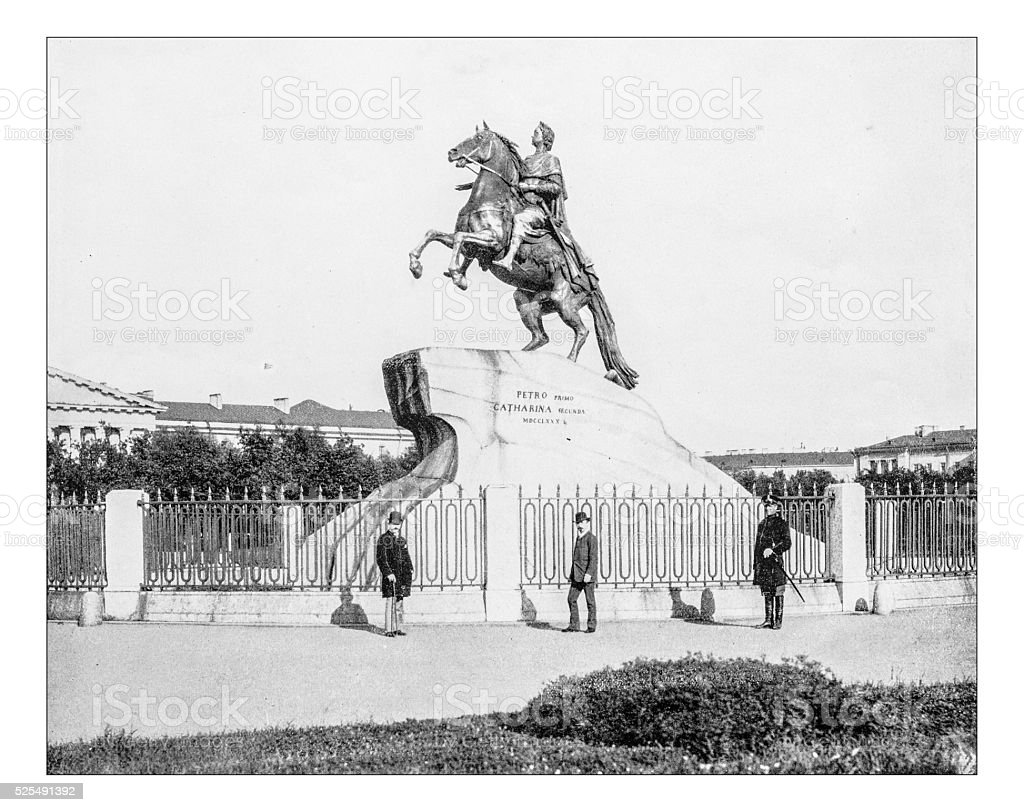 Antique photograph of Bronze Horseman (Saint Petersburg, Russia, 19th century) vector art illustration