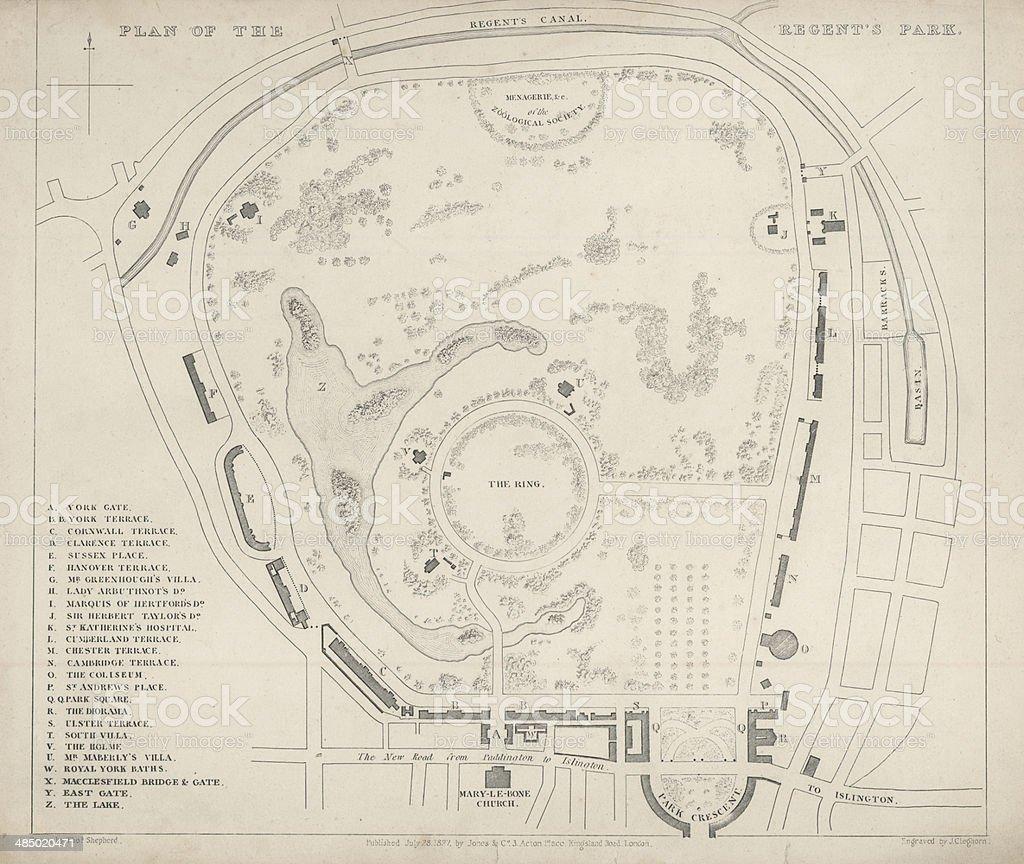 Antique Plan of Regent's Park, London. 1827 vector art illustration