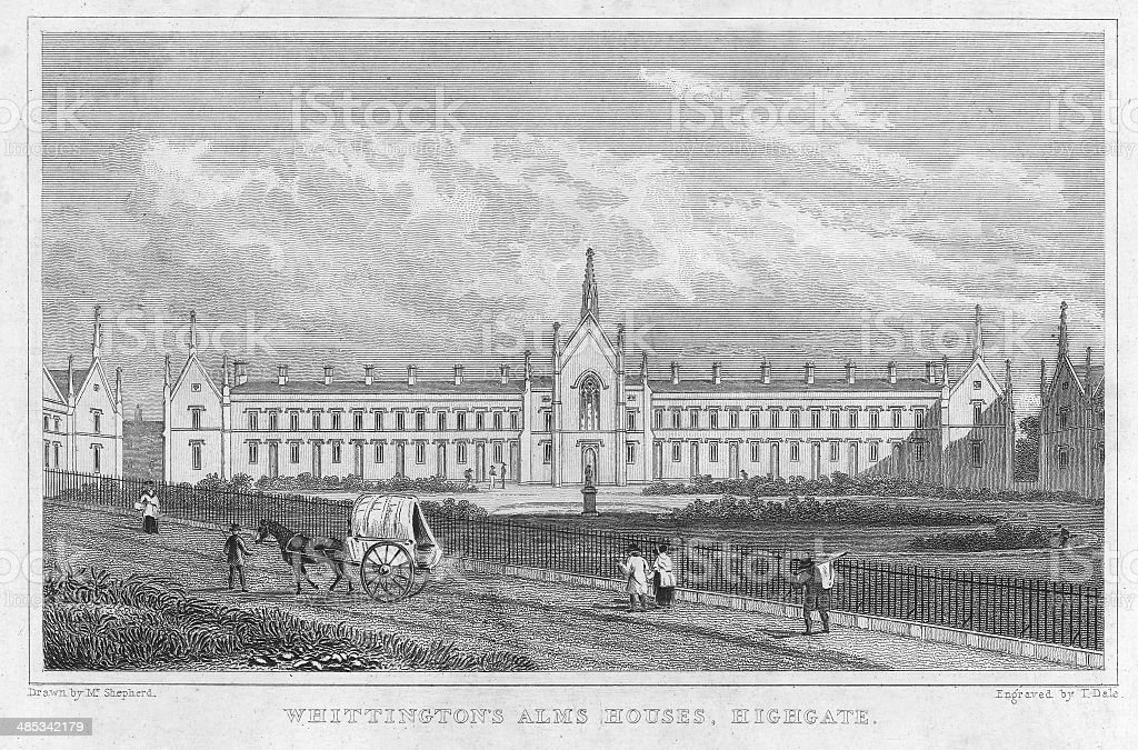 Antique print of Alms Houses in London vector art illustration