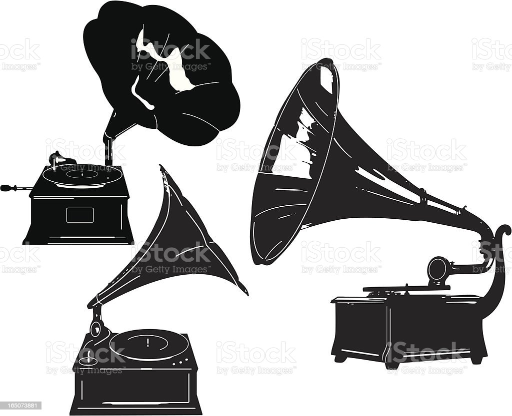 Antique Record Players royalty-free stock vector art