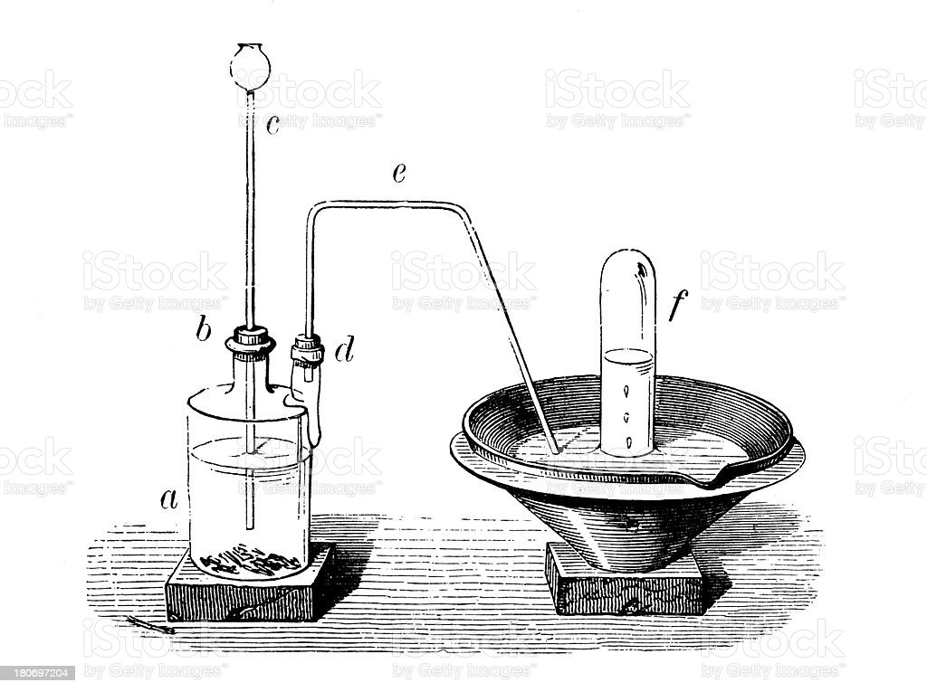 Antique scientific chemistry and physics experiments royalty-free stock vector art
