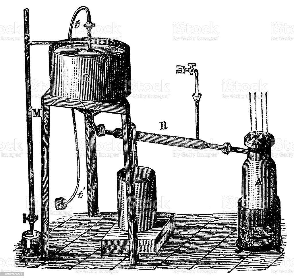Antique scientific experiments royalty-free stock vector art