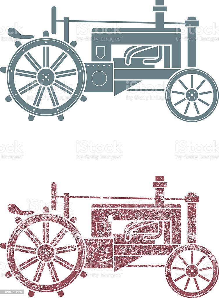 Antique tractor royalty-free stock vector art