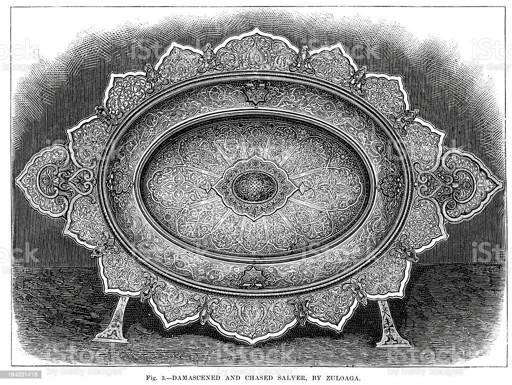 Antique Victorian Salver vector art illustration