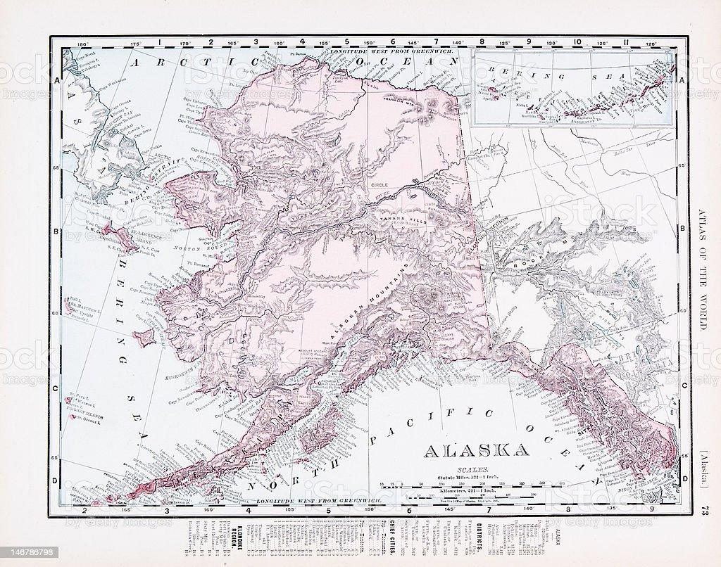 Antique Vintage Color Map of Alaska, USA vector art illustration