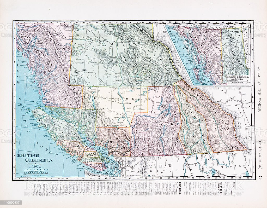 Antique Vintage Color Map of British Columbia, Canada vector art illustration