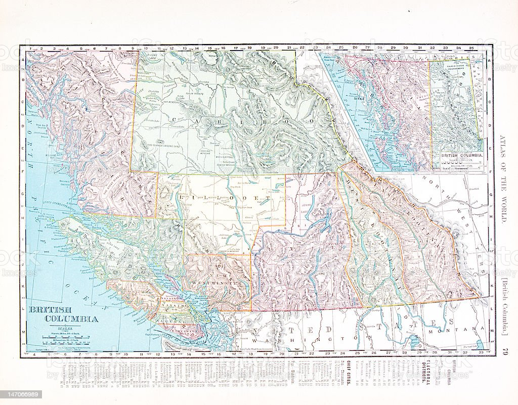 Antique Vintage Color Map of British Columbia, Western Canada vector art illustration