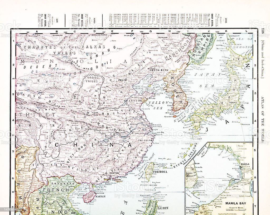Antique Vintage Color Map of China, Korea, Japan vector art illustration