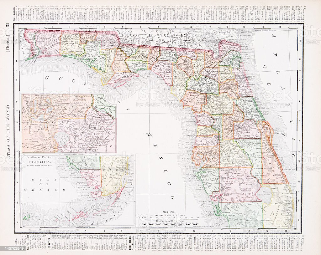 Antique Vintage Color Map of Florida, USA vector art illustration