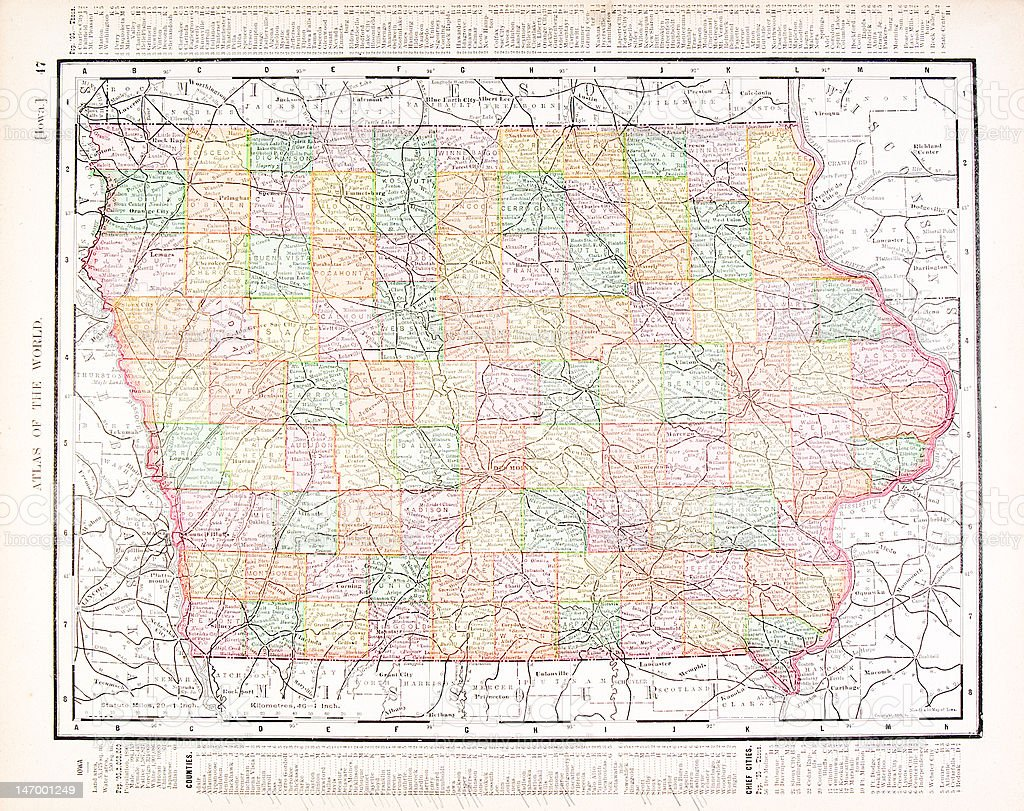 Antique Vintage Color Map of Iowa, USA vector art illustration