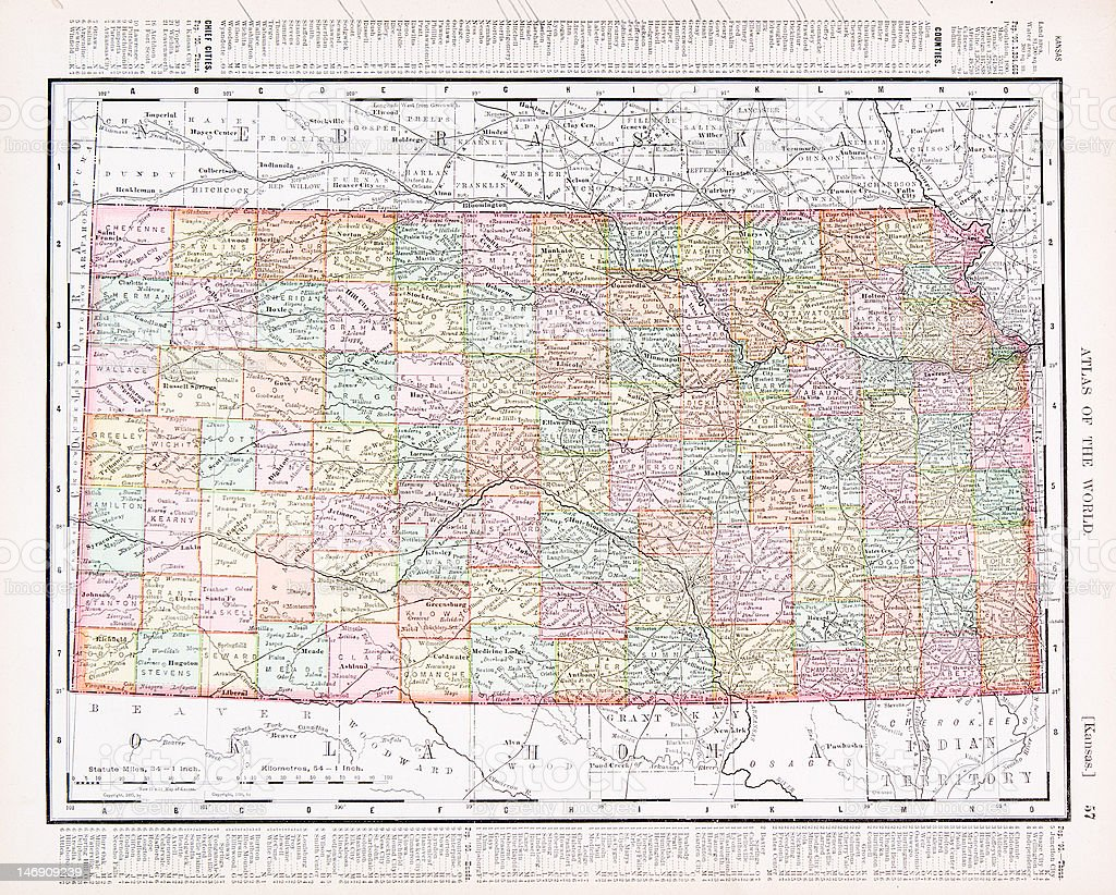 Antique Vintage Color Map of Kansas, USA vector art illustration