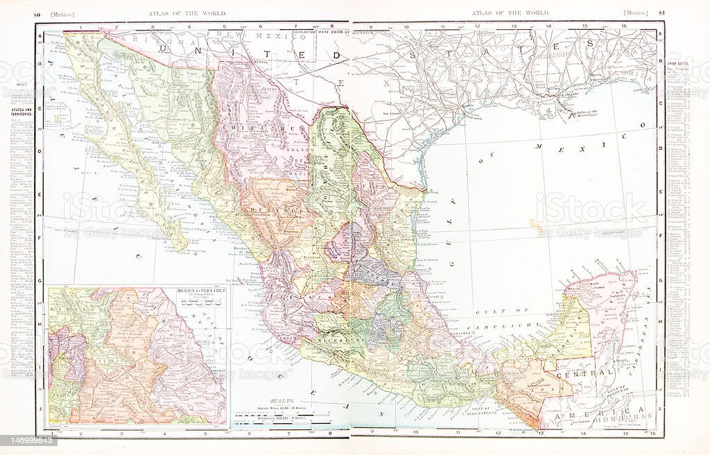 Antique Vintage Color Map of Mexico vector art illustration