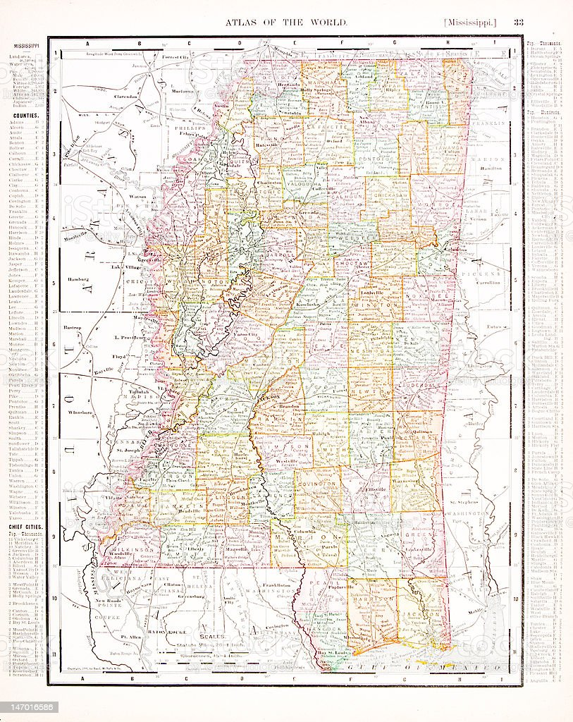 Antique Vintage Color Map of Mississippi, USA vector art illustration