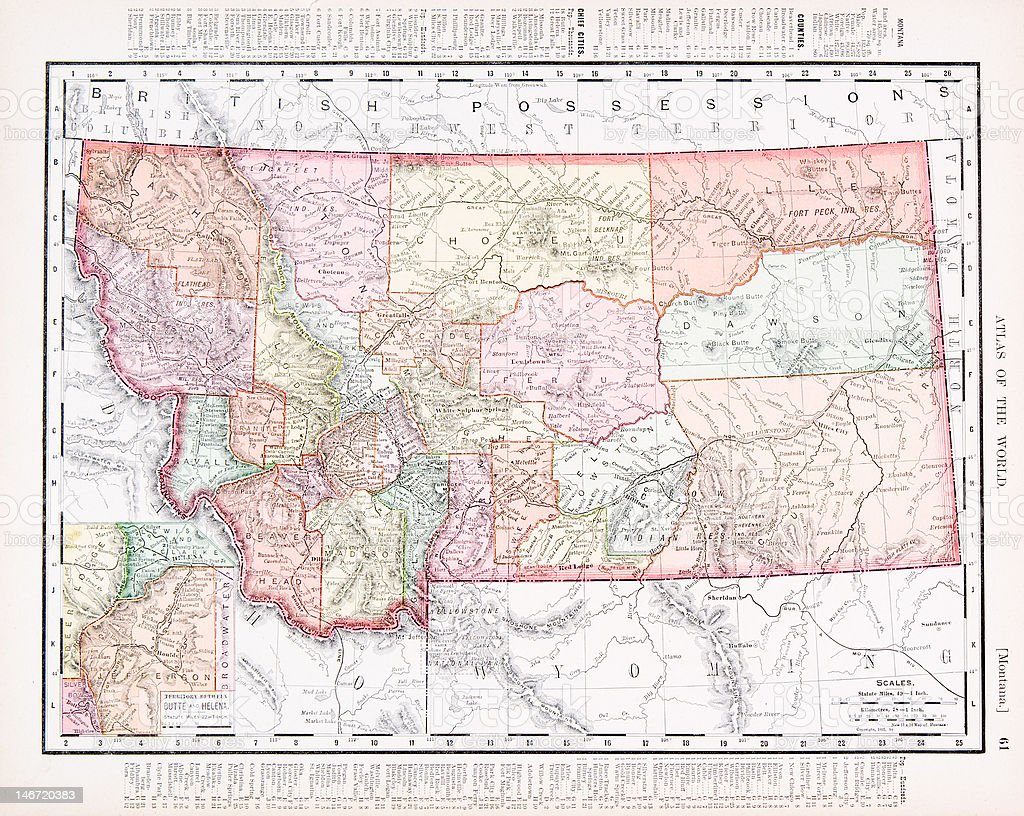 Antique Vintage Color Map of Montana, United States vector art illustration
