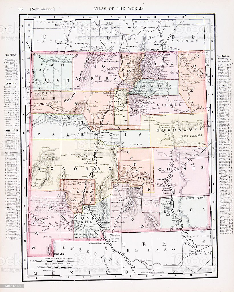 Antique Vintage Color Map of New Mexico, USA vector art illustration