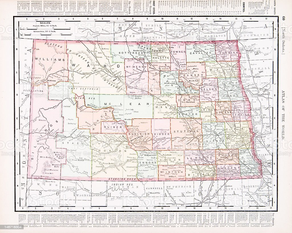 Antique Vintage Color Map of North Dakota, USA vector art illustration