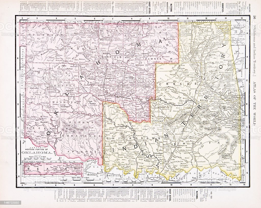 Antique Vintage Color Map of Oklahoma Indian Territory, USA vector art illustration