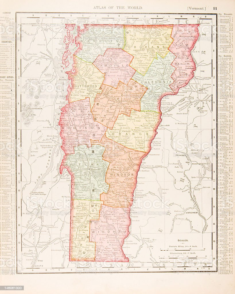 Antique Vintage Color Map Of Vermont Usa Stock Vector Art - Usa maps vermont