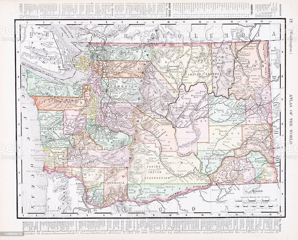 Antique Vintage Color Map of Washington State, USA royalty-free stock vector art