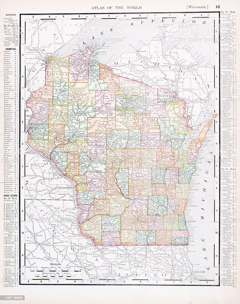 Antique Vintage Color Map of Wisconsin, USA vector art illustration