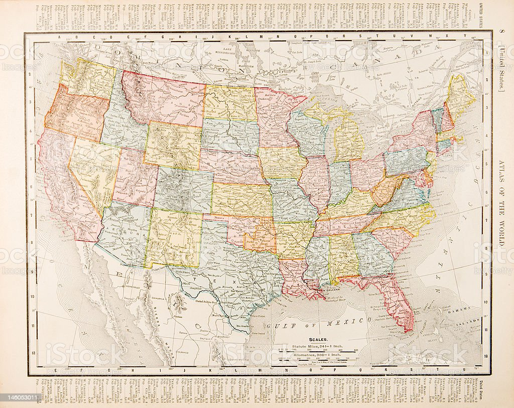 Antique Vintage Color Map United States of America, USA vector art illustration