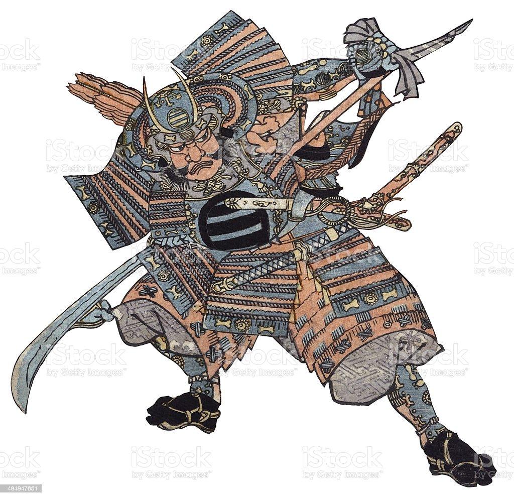 Antique Woodblock print of Samurai Warrior vector art illustration