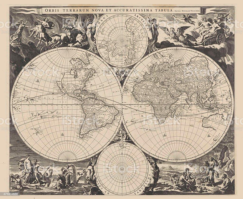 Antique world map vector art illustration