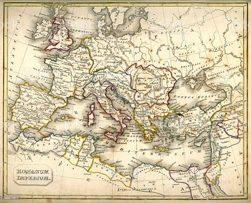 Antquie Map of Ancient Roman vector art illustration