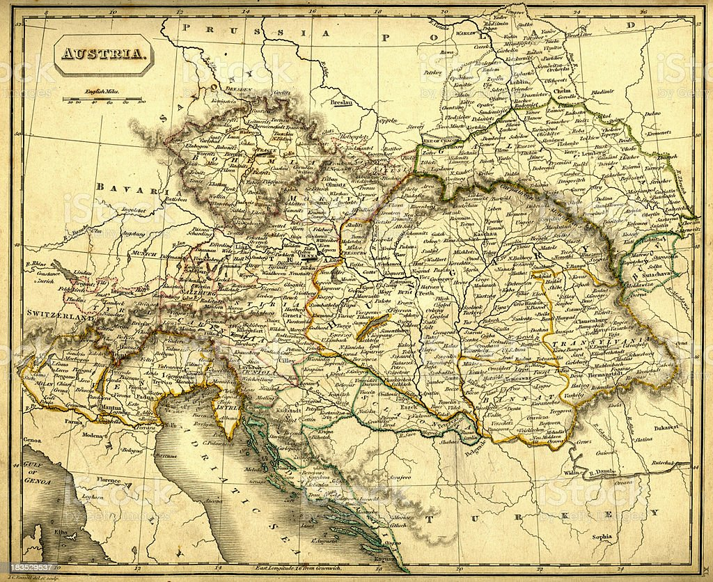 Antquie Map of Austria and Hungary vector art illustration