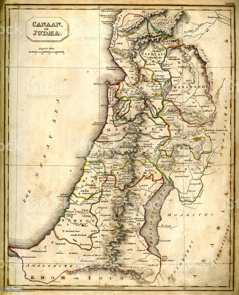Antquie Map of Canaan or Judaea vector art illustration