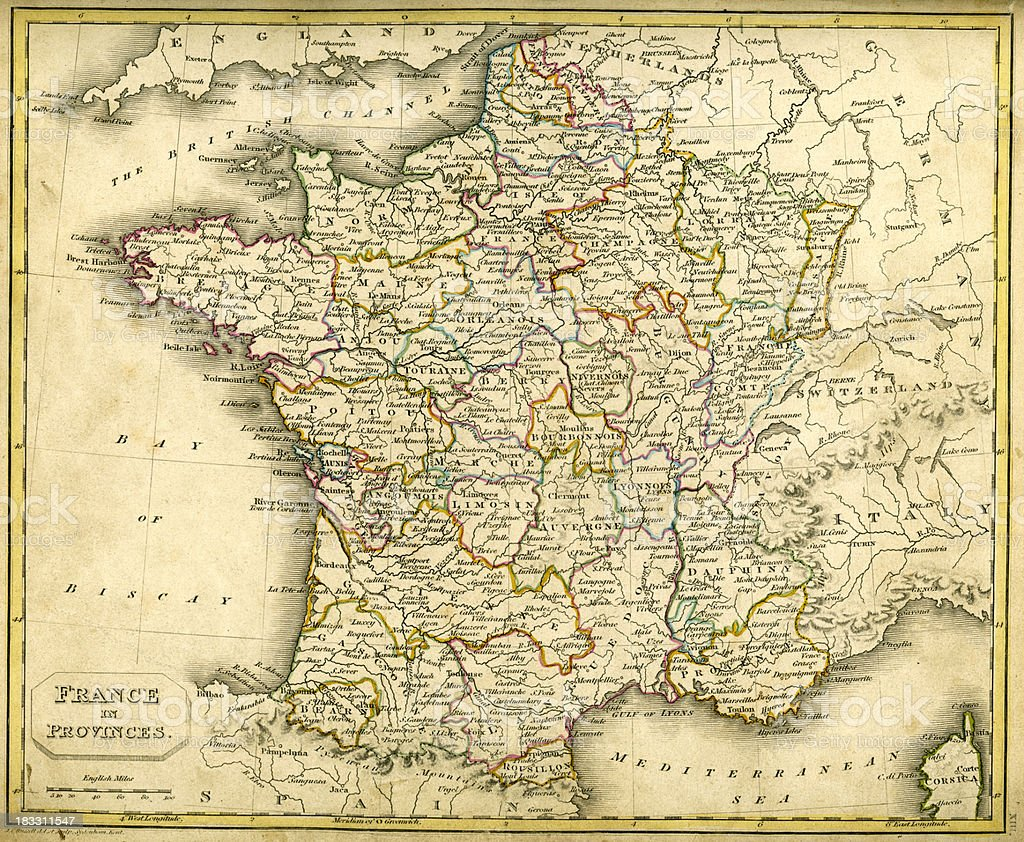 Antquie Map of France in Provinces royalty-free stock vector art