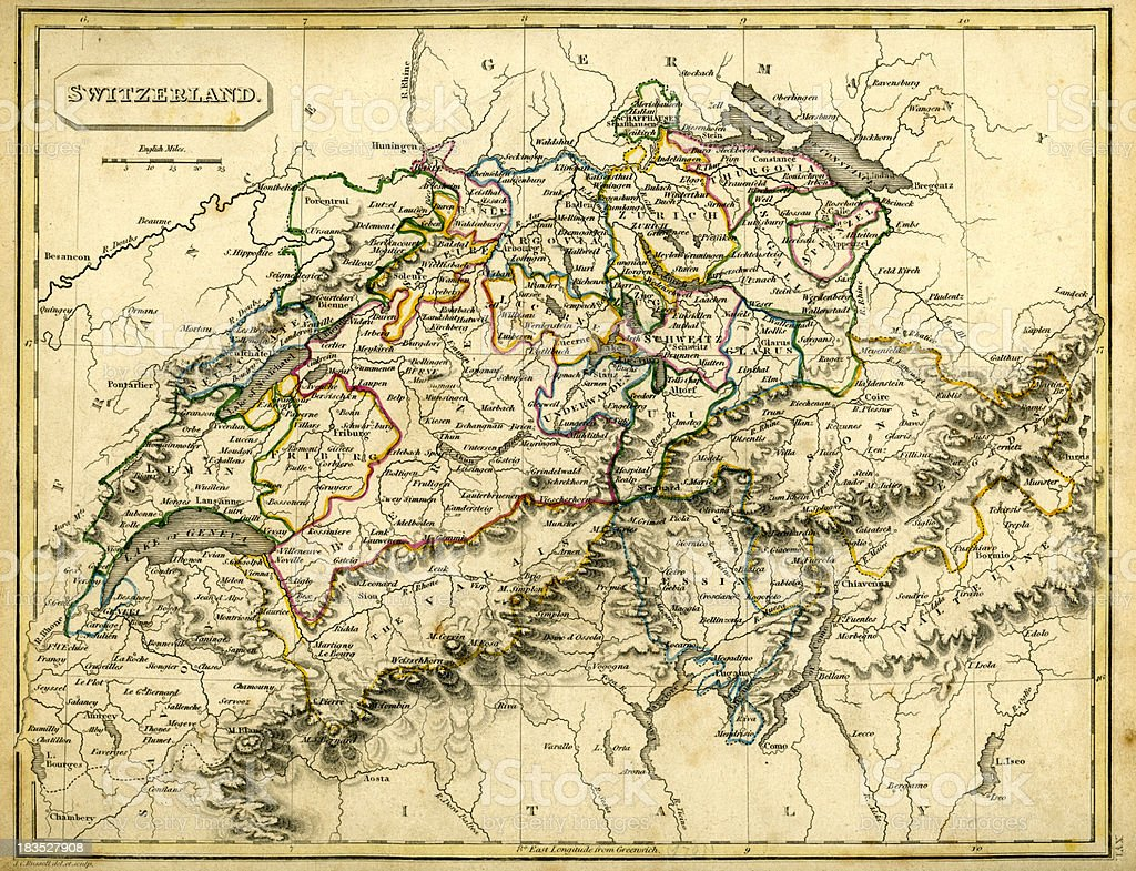 Antquie Map of Switzerland royalty-free stock vector art