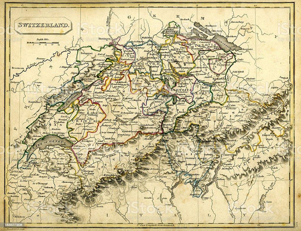 Antquie Map of Switzerland vector art illustration