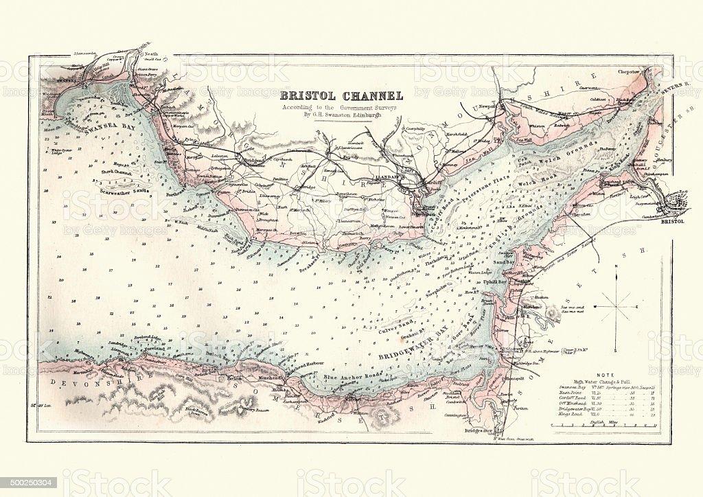 Antquie Map of the Bristol Channel, 1880 vector art illustration