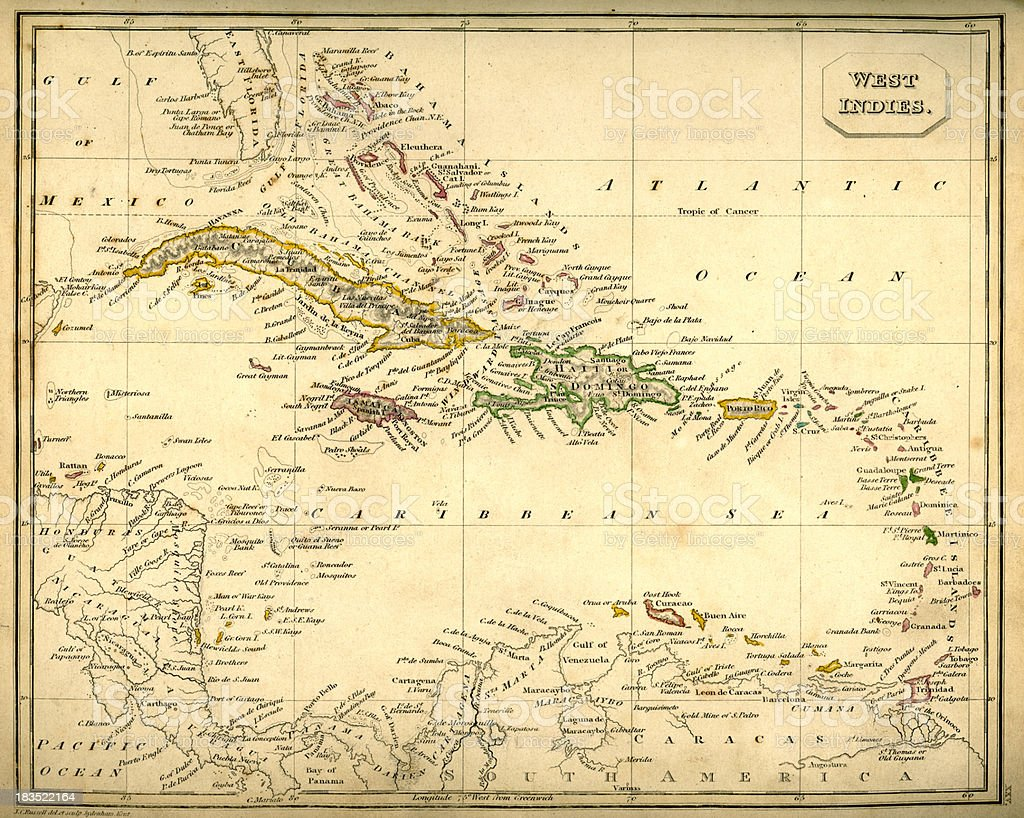 Antquie Map of The West Indies vector art illustration