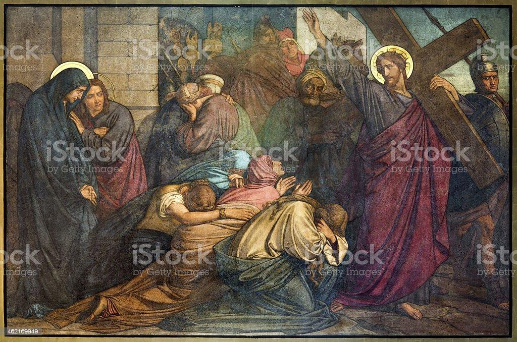 Antwerp - Jesus meets the women of Jerusalems. vector art illustration