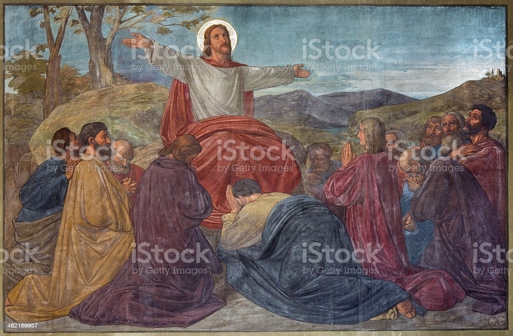 Antwerp - Sermon of Jesus scene in Joriskerk vector art illustration