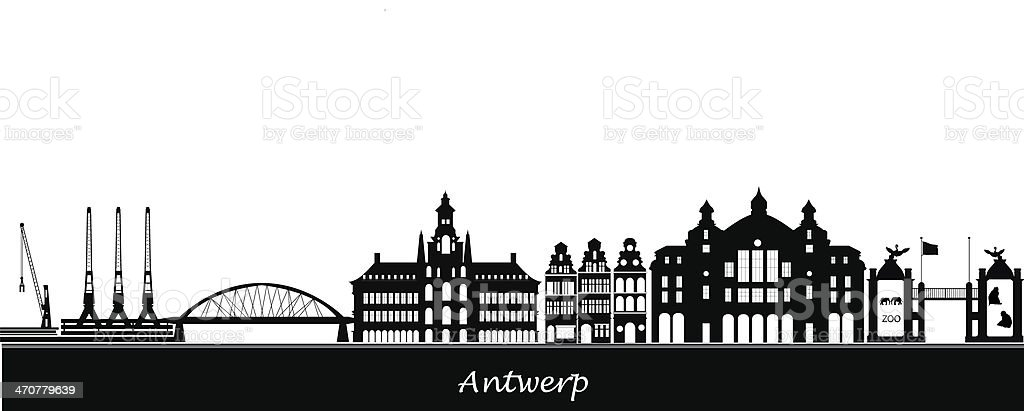Antwerp skyline vector art illustration