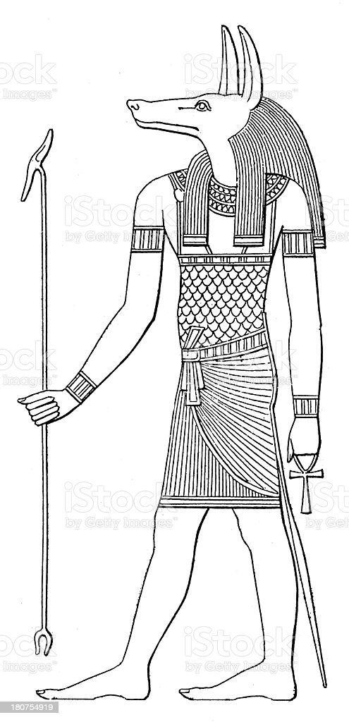 Anubis (antique wood engraving) royalty-free stock vector art