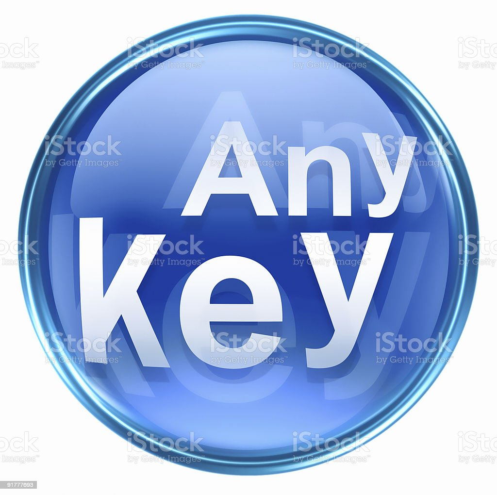 any key icon blue, isolated on white background royalty-free stock vector art