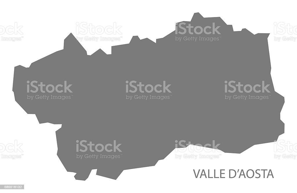 Aosta Valley Italy Map in grey vector art illustration