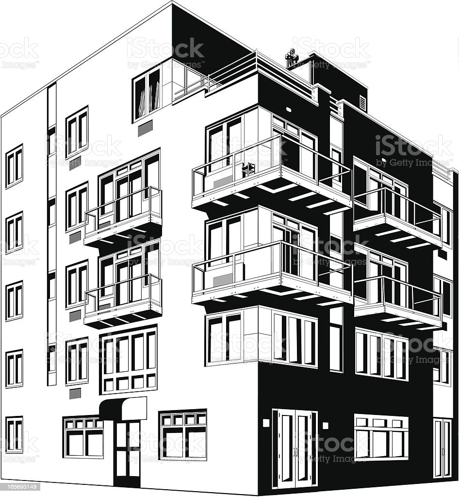 Apartment building in a city vector art illustration