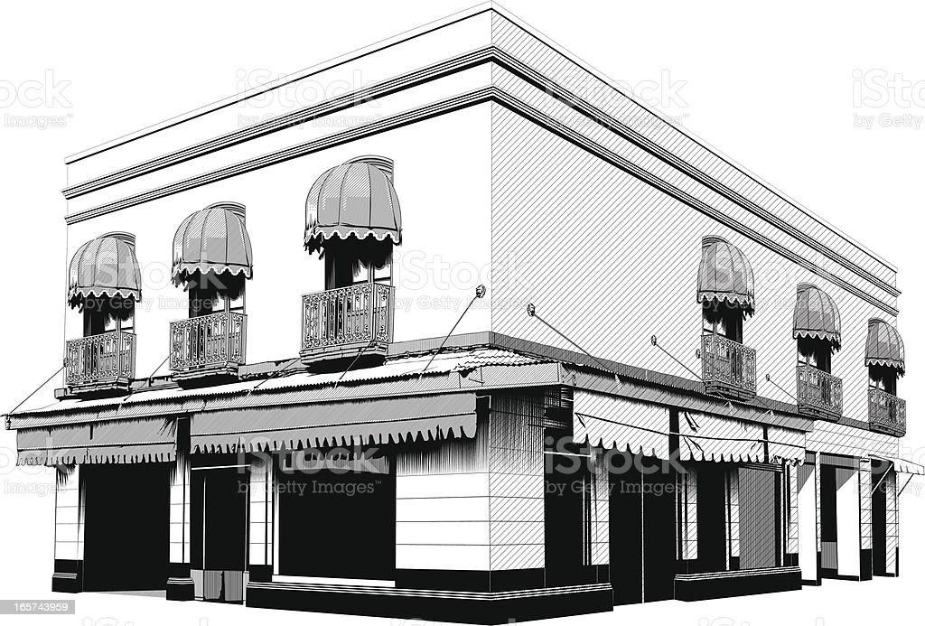 Apartment building on the corner vector art illustration