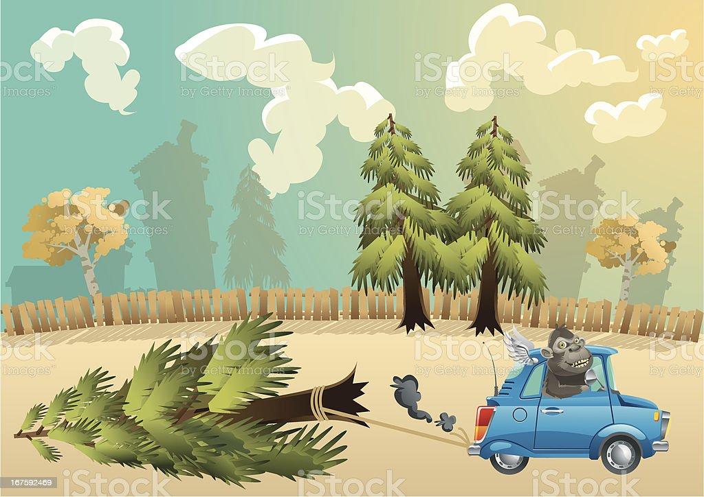 Ape lumber vector art illustration
