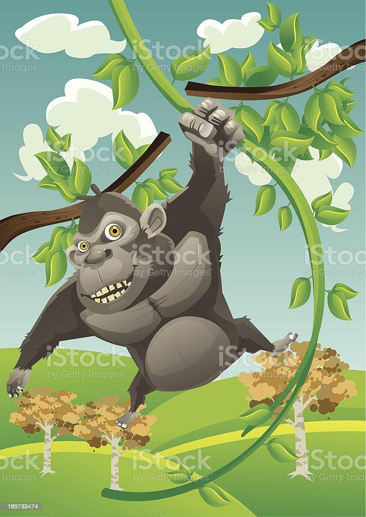 ape swinging vector art illustration