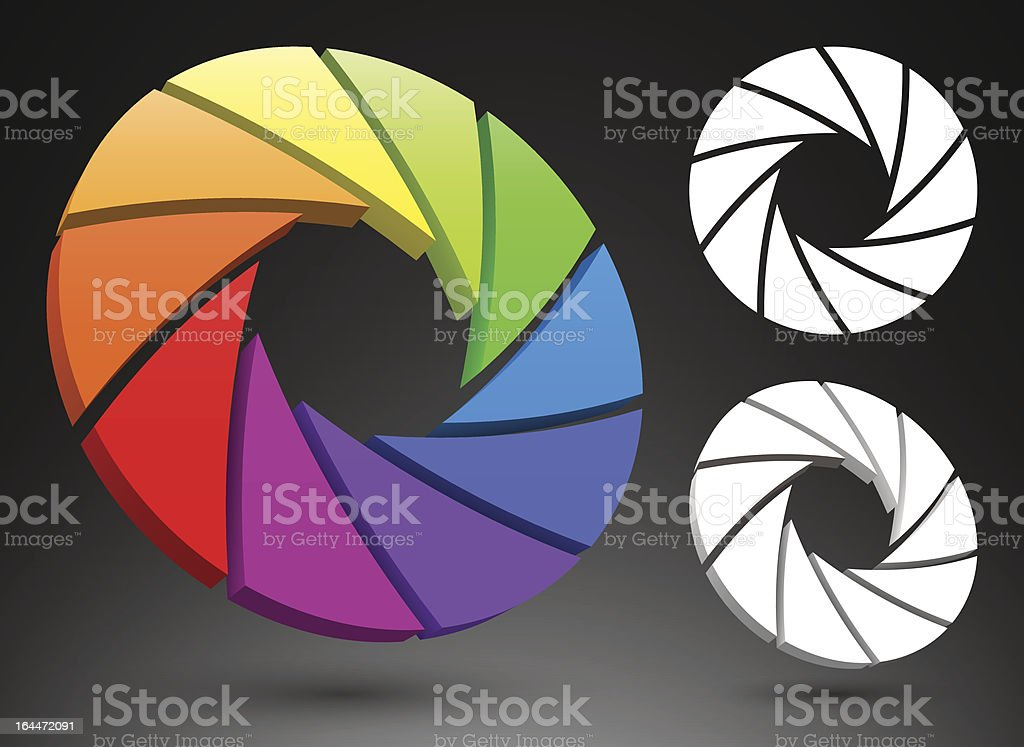 Aperture color wheel 3D royalty-free stock vector art