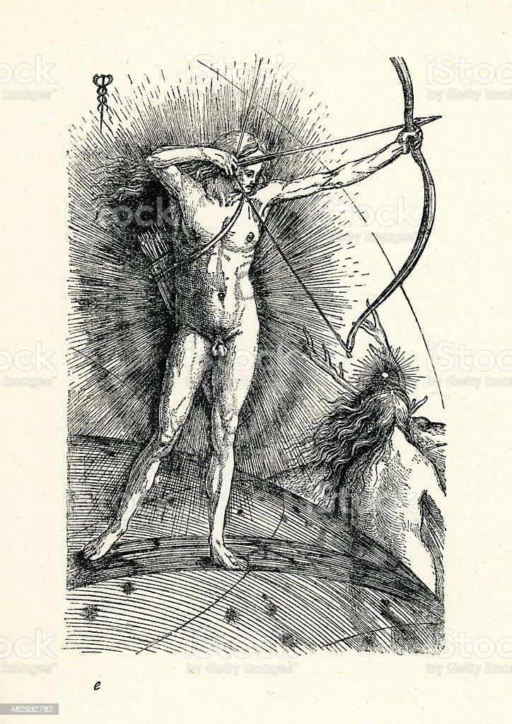 Apollo and Diana by Jacopo de Barbari vector art illustration